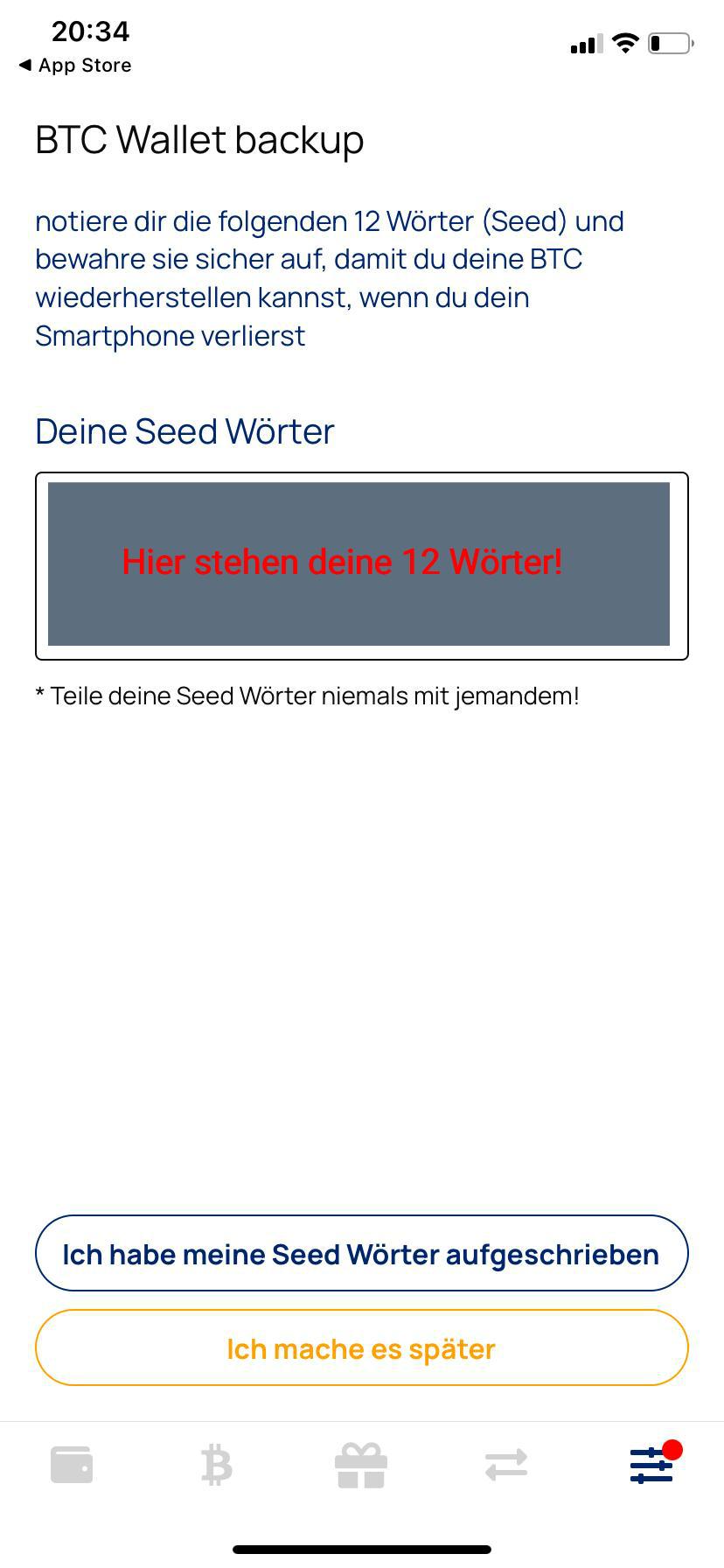 Relai BTC Wallet backup seed